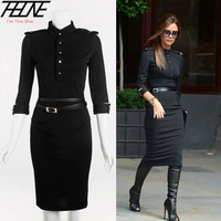 2013 New Dress Stand Up Collar 3 4 Sleeve Slim Fit Belted Pencil Dress With Epaulettes