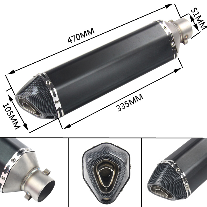 Universal 470mm Exhaust Pipe Escape Muffler With Silencer Slip On Motorcycle ATV