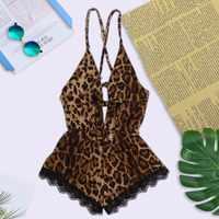 2019 Sexy Bow Babydoll Leopard halter Conjunto de cruz Mulheres Costura Sexy 3X dorminhoco Mais tamanho Conjunto de Roupa Interior