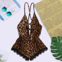 2019 sexy laço babydoll leopardo cabresto conjunto de cruz mulheres costura sexy conjunto de roupa interior sleeper mais tamanho 3x
