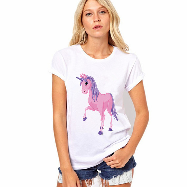 Women T shirt Unicorn Prints Round Neck Short Sleeve White Top