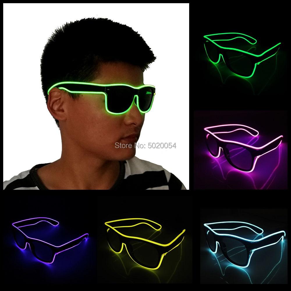10 Colors Fashion EL Wire Neon LED Sunglasses Bar Party Dance DJ Bright Flashing Sun Glasses Men Light Up Eyewear