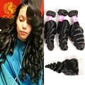7A Brazilian Virgin Hair Loose wave With Closure Brazilian Virgin Hair 3 BundleS with Closure Brazilian Hair With Closure
