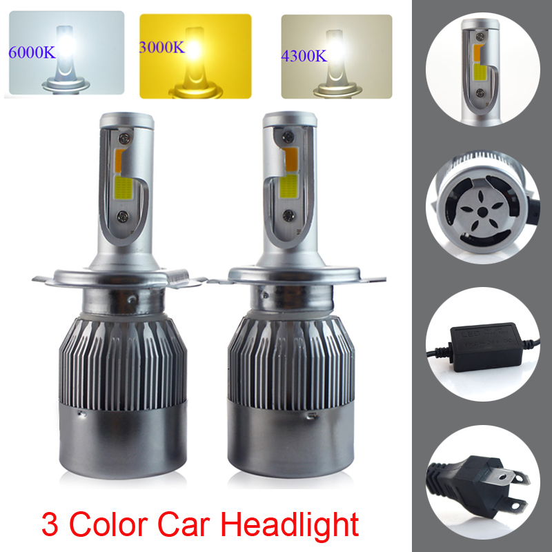 PANYUE H7 H11 LED Car Headlight 9005 HB3 9006 HB4 H8 9012 H1 H3 880 H27 H4 LED Dual Color Headlight Kit 3000K 4300K 6000K 7200LM new 3color changing led bulb headlight foglight h1 h3 h4 h7 h8 h9 h11 9005 9006 9012 880 881 3000k yellow 4300k warm 6000k white