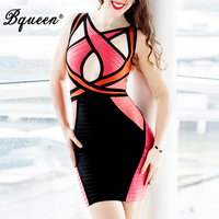 HEGO 2016 New Patchwork Crisscross Hollow Out Sexy Spaghetti Strap Bandage Dress