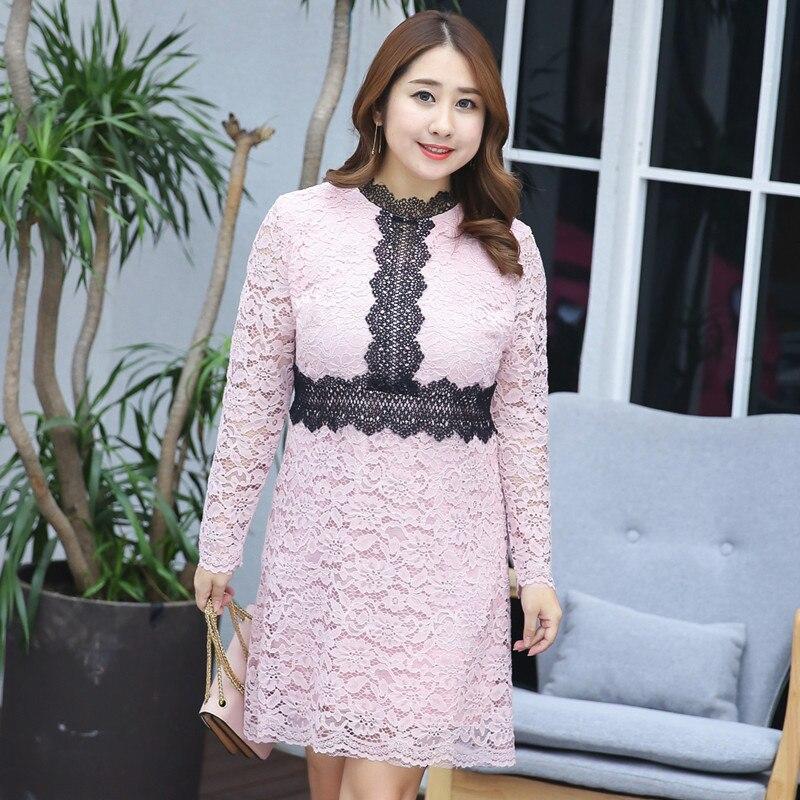 Black Lace Crochet Turtleneck Elegant Long Sleeve Ladies Lace Dress