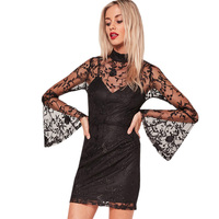 Womens Club Party Dress Sexy Lace High Neck Flute Sleeve Mini Dresses Black Night Long Sleeve
