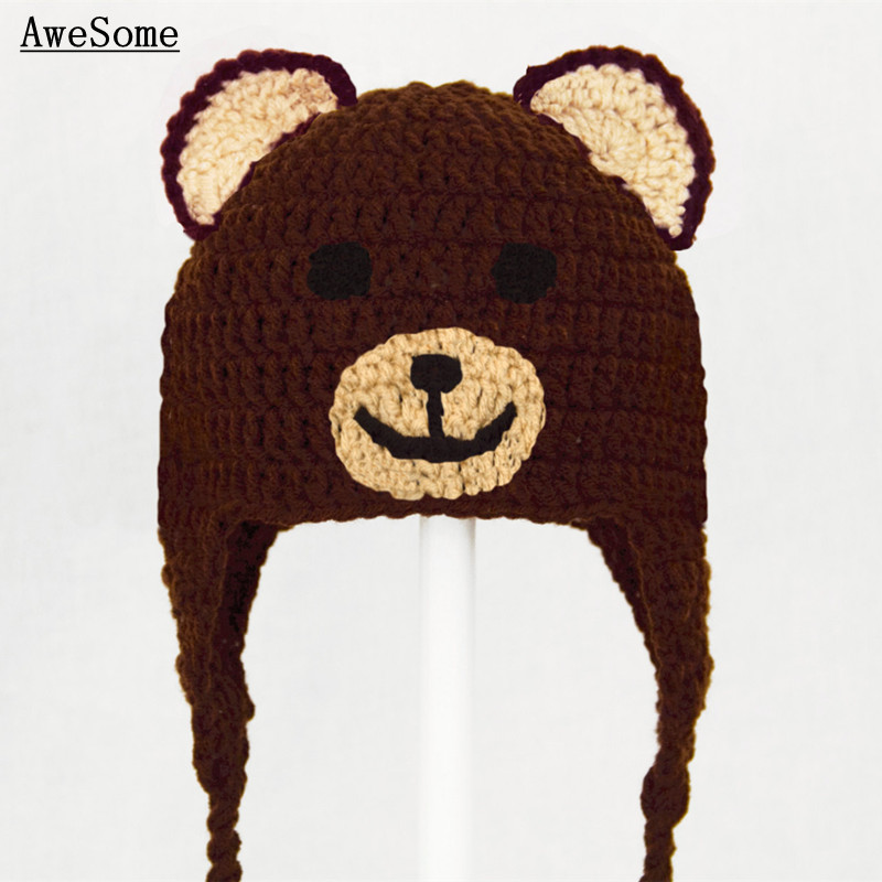 Free Post Lovely Brown Teddy Bear Hat with Braids Baby Girl Boy Photography  Prop Cotton Crochet Toddler Animal Cap Baby Costume 79ed7d0b211