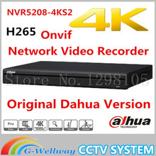 Free shipping New DAHUA 8CH 1U 4K&H.265 1080P NVR support 2HDD Onvif NVR5208-4KS2 Network Video Recorder