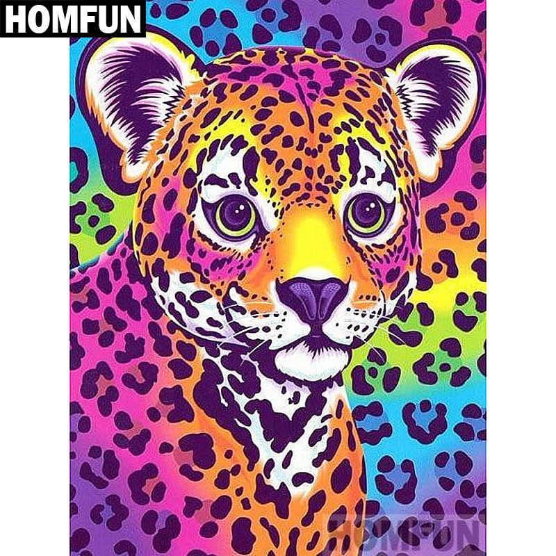 """HOMFUN taladro cuadrado/redondo completo 5D DIY pintura de diamante """"leopardo colorido"""" bordado punto de cruz 5D decoración del hogar regalo A02189"""