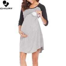 Chivry 2019 Maternity Dresses Women Breast Feeding Pregnancy Dress Nursing Clothing Casual O-neck Patchwork Mini