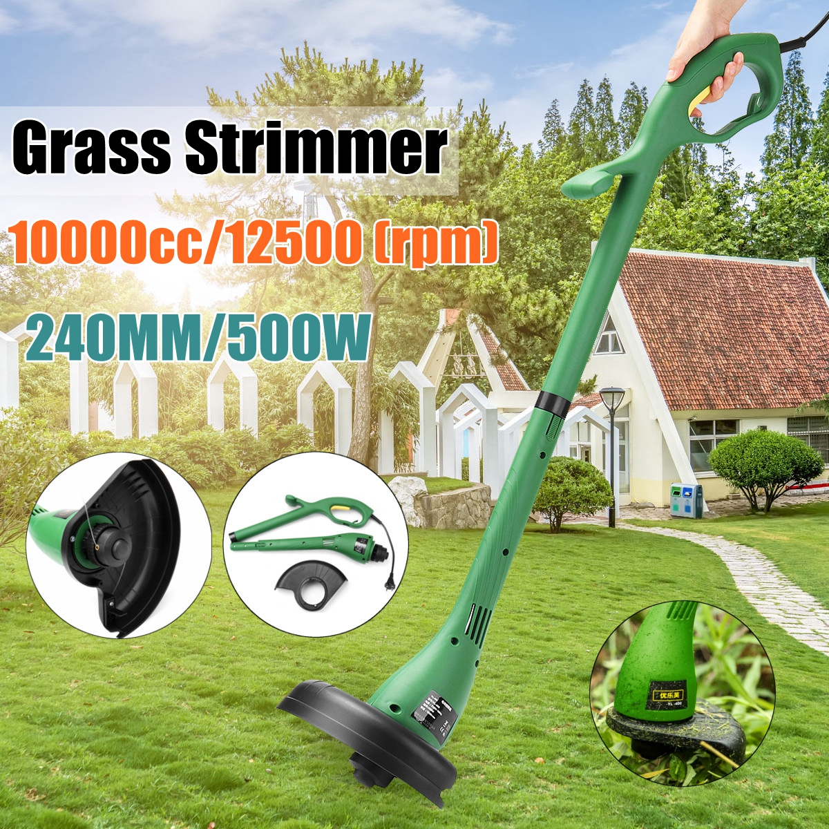 Home Electric Lawn Mower Portable Garden Lawn Mower Weeding Machine Grass Trimmer 500W 12500 rpm/min Courtyard Pruning Tools mower lawn cut irrigation mower rice machine parts rotary cutters grass control