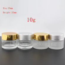 10g X 24 clear cosmetic glass container with aluminum screw cap , small cream frosted glass jar , sample glass pot bottle vial(China)