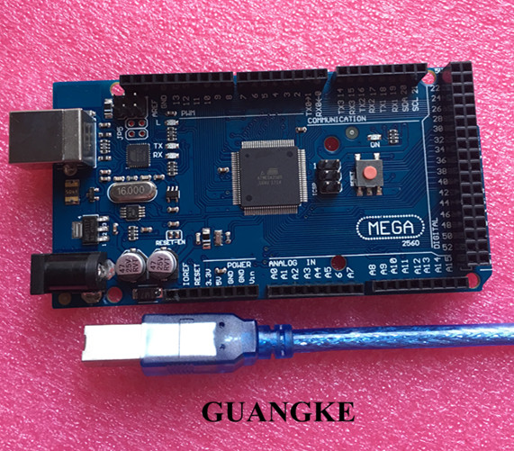 Mega2560 Conseil ATmega2560-16AU + Câble USB Compatible avec mega 2560 (5 conseil + 5 Câble USB)