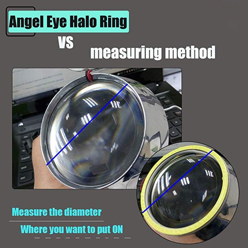 2x Angel Eyes 60mm 70mm 80mm 90mm 100mm 110mm 120mm Halo Ring Car Led Fog Light Motorcycle Daytime Running Light DRL Headlight 3