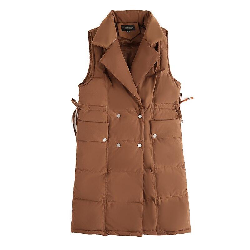Gilet Long Le Bas Hetobeto Turn Blanc 2018 Femmes Mince Femelle Nouvelle Noir rembourré Collar Coton Mode blanc Vers D'hiver Couleur down vWBTwqSB5