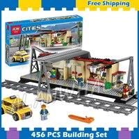 456pcs Trains Series City Classical Train Station Model Building Blocks 02015 Assemble Children Gifts Sets Compatible