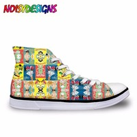 New High Top Women Shoes Lace Up Vulcanize Shoes Cute 3D Registered Nurse Printed Casual Canvas Shoes for Students Ladies