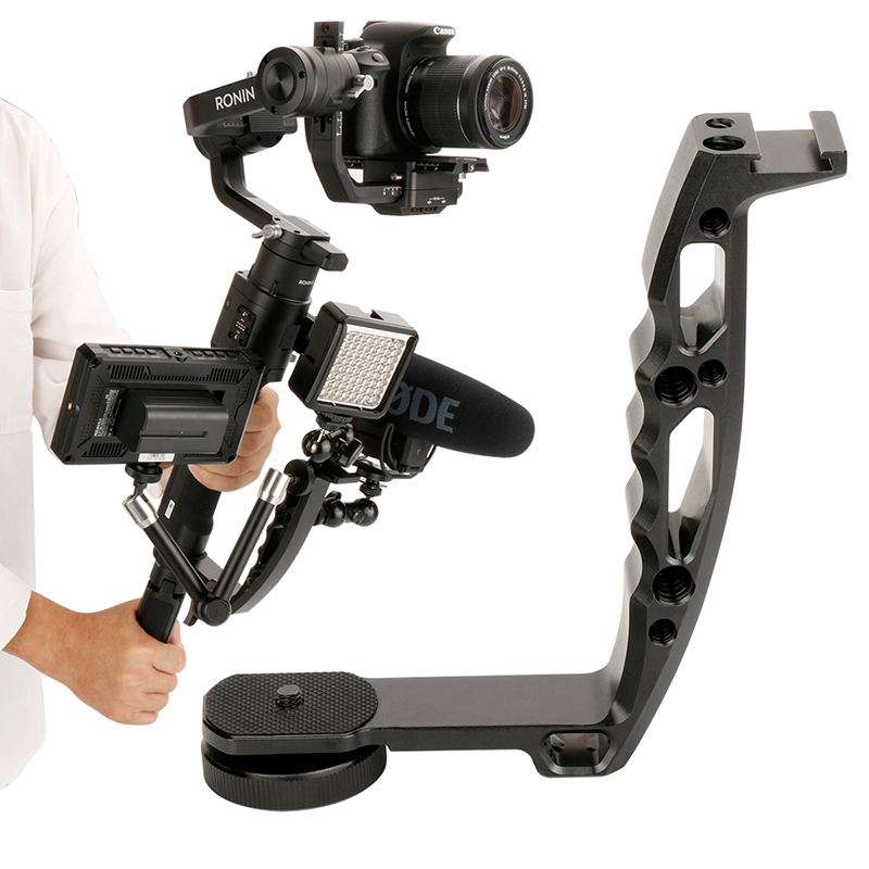 Gimbal Accessories L Bracket Stand Handle Grip With Hot Shoe 1/4'' Screw For Zhiyun Crane 2 DJI Ronin S Weebill LAB Stabilizer