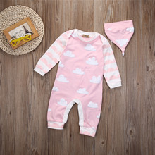 Baby Romper Unisex Baby Boys Girls Warm Jumpsuit Long Sleeve Cloud Pink Romper+ Hat Clothes Outfits Set CA