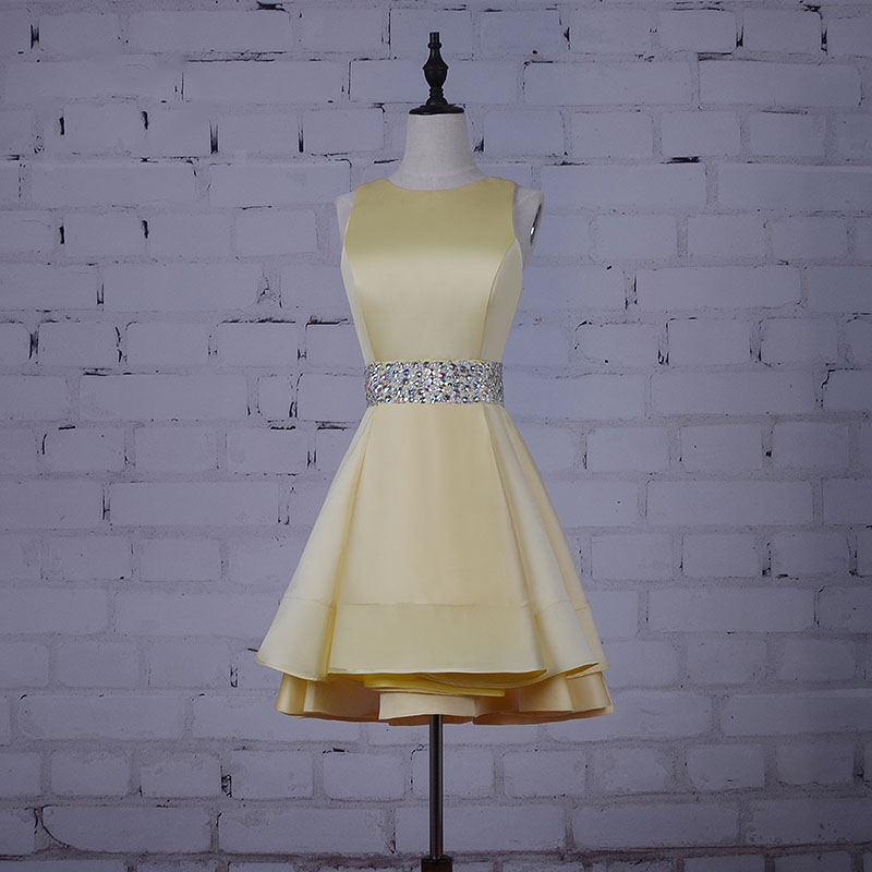 Short Prom dress for Graduation Beaded Sashes Real Yellow Sath Party Dress Rhinestones A Line Cocktail