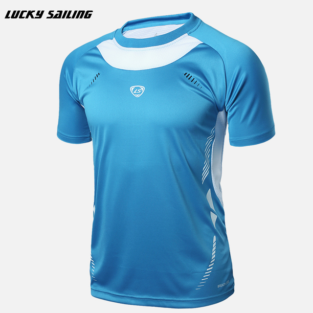 LUCKY SAILING 2017 New Sport running Fitness Soccer Jerseys Shirt Men Sport t shirt fit short sleeve body building tops clothing