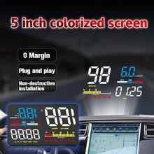 GEYIREN D5000 HUD Auto-Kopf-up OBD2 5 Zoll Colorized Anzeige Tachometer Temperatur auf der Windschutzscheibe