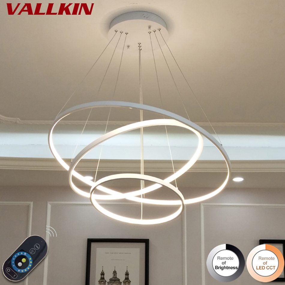2969d49c4 Modern Led Chandelier Lighting Dimmable With Remote Control Aluminum Lustre  Ring Chandeliers Light Lamp For Restaurant Fixtures