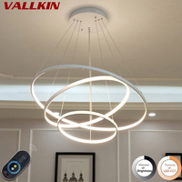Modern Led Chandelier Lighting Dimmable With Remote Control Aluminum Lustre Ring Chandeliers Light Lamp For Restaurant Fixtures