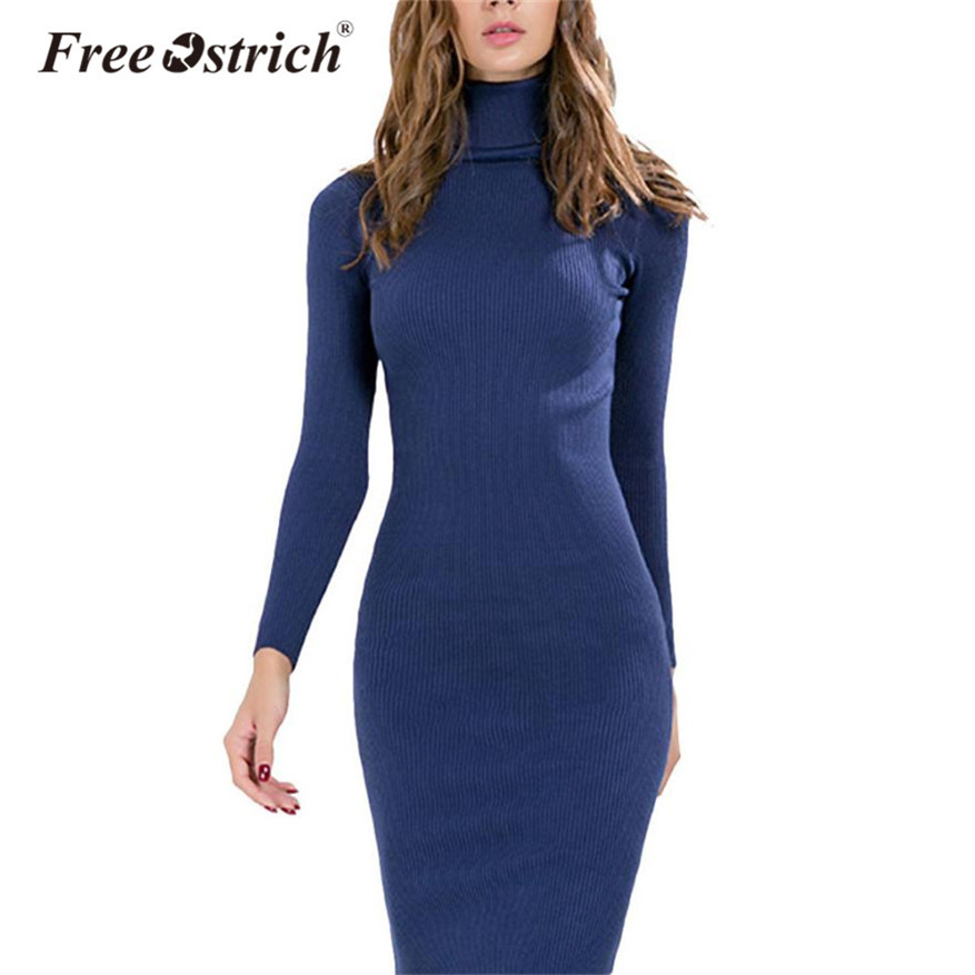 Free Ostrich 2018 Women Office Knitted Winter Dress Sexy Turtleneck Ribbed Midi Bodycon Sweater Dress Vestido Feminine Oct17