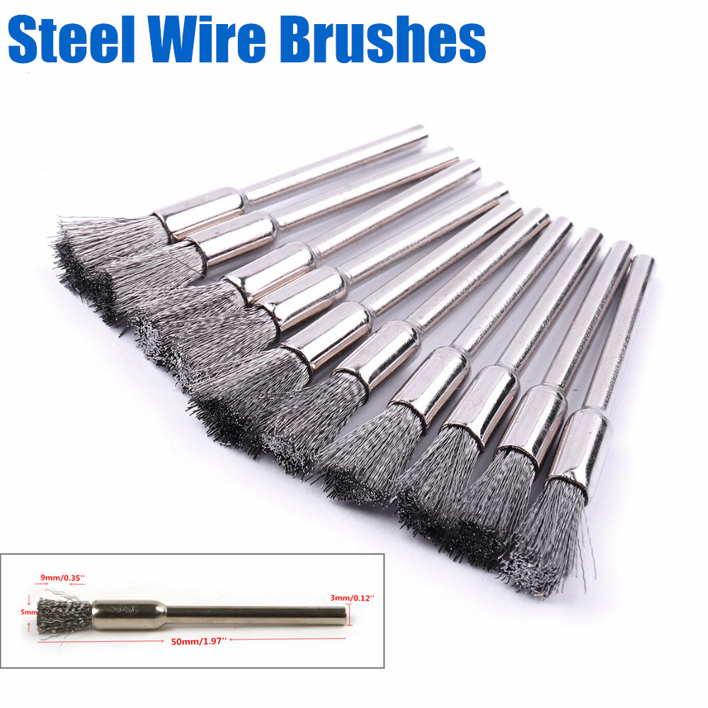 10Pcs 5mm Steel Wire Wheel Brush For Metal Rust Remover Brush Wood Carving Jade Polishing Grinder Dremel Rotary Tool Steel Brush