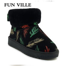 FUN VILLE 2018 New Fashion Women Snow boots Thick Heel Platform shoes Fur Warm Winter Boots Round Toe Femal winter Flat