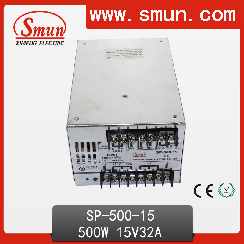 500W 15V With PFC Single Output Switching Power Supply With CE ROHS From China Supplier Industrial And Led Used 125a 220v 2p e industrial male plug 3pins with ce rohs 1 year warranty