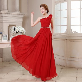 2017 New Evening Dresses Elegant Red A-Line Bride Gown One Shoulder Chiffon Ball Prom Party Homecoming/Graduation Formal Dress