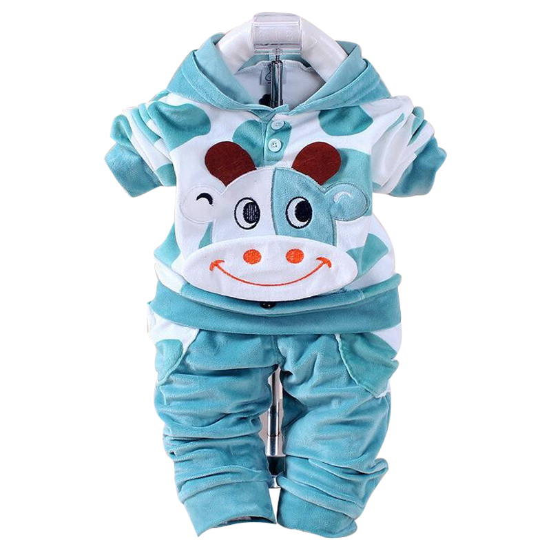 New Baby Boys baby Girls Clothing Set Winter Fleece Sport Clothes Suit Cow Long Sleeve Clothing Set Cotton Boys Girls Clothes