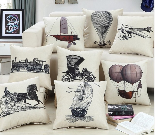 Aliexpress Buy New Boat Airplane Cotton Linen Cushion Cover Unique Airplane Decorative Pillow