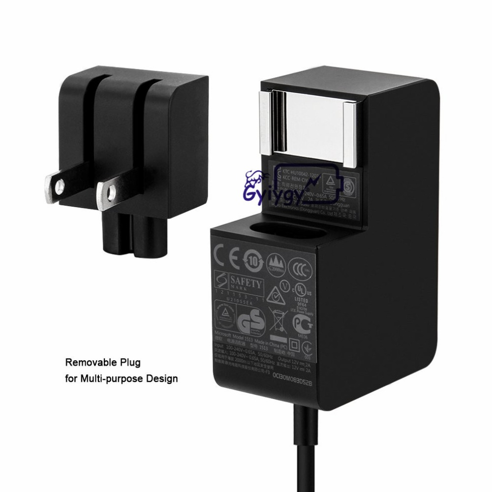 Power Supply Adapter for Microsoft Surface RT Charger 24W 12V 2A Surface 2 Surface Pro 1 Pro 2 Tablet Include US Plug with 5ft Cable Model 1513 31