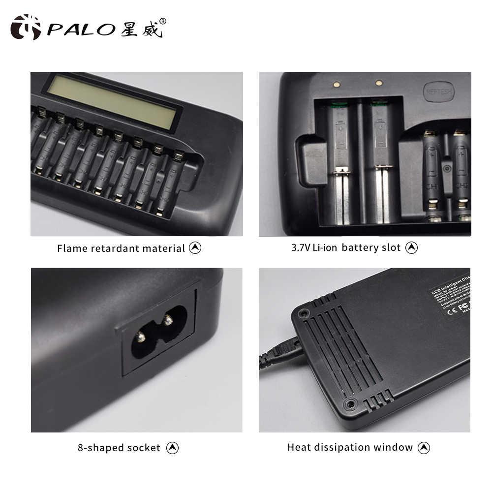 PALO 12 слотов смарт-зарядное устройство для AA/AAA SC Ni-MH Ni-CD аккумуляторная батарея 3,7 в литий-ионный аккумулятор 18650 + 12 шт. AA батарея