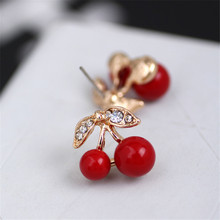 1 pair of red cherry earrings fashion fashion personality inlaid zircon earrings ladies jewelry цена