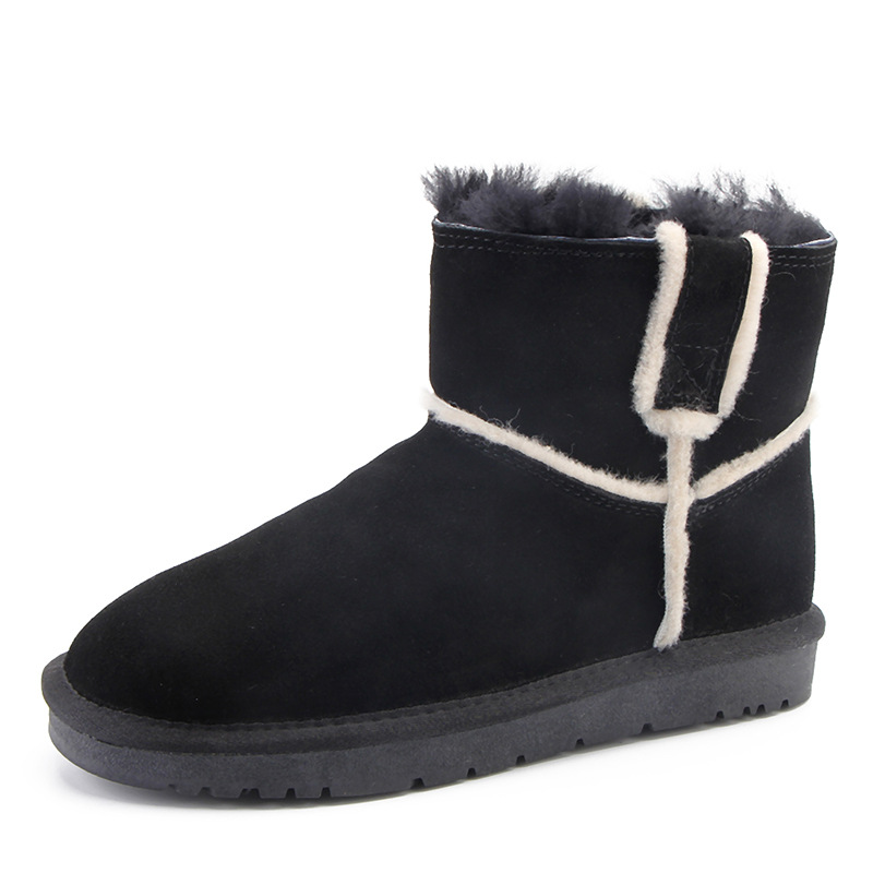 Et Neige Confortable Chaud Plus Chaussures De En Cuir Hiver Épaississement Velours Femmes Bottes Court Tube corn Couleur Gray Solide Poilu black qvgAgd