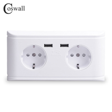 Coswall Dual Usb poort Opladen 5 V 2.4A 16A Muur Rusland Spanje Standaard Stopcontact Dubbele EU Outlet Charger Adapter