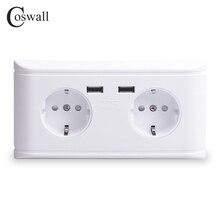 Coswall 듀얼 usb 충전 포트 5 v 2.4a 16a 벽 러시아 스페인 표준 전원 소켓 더블 eu 콘센트 충전기 어댑터