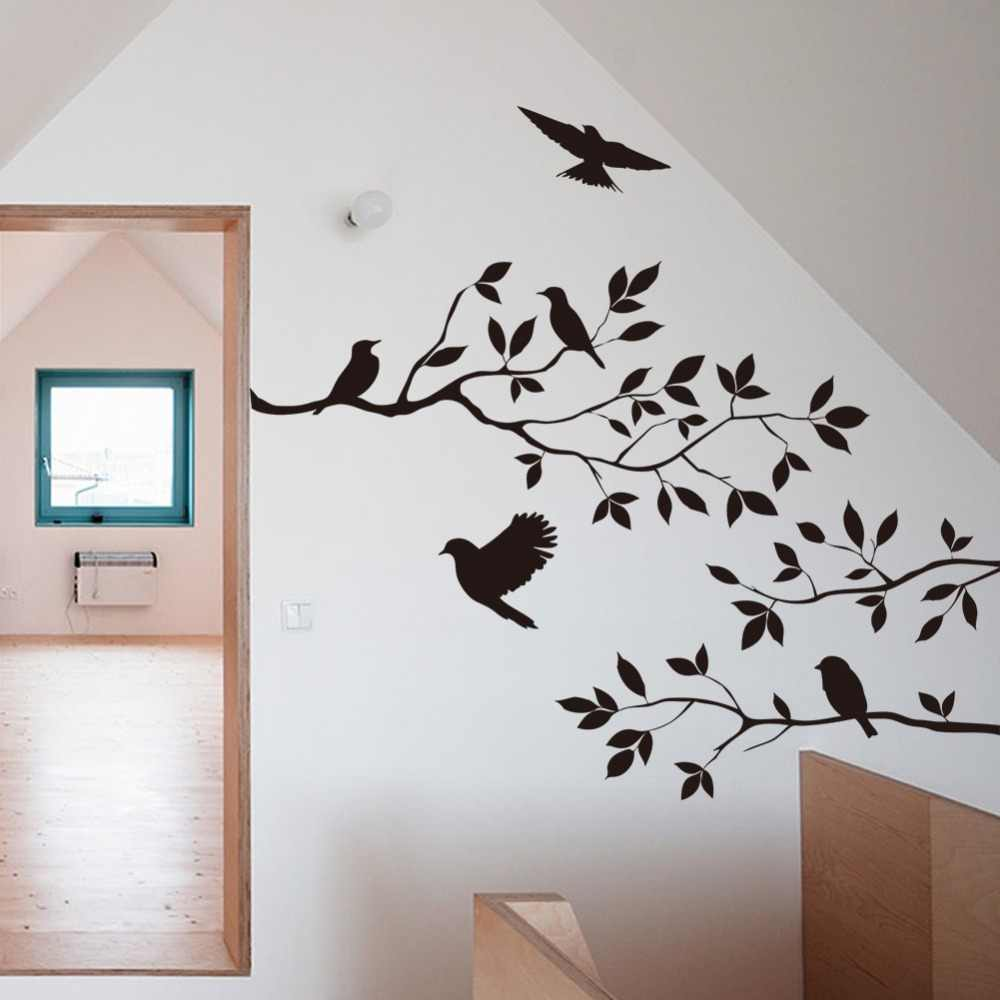 Black tree branch birds wall sticker tree vinyl wall decal mural glass film window stickers home