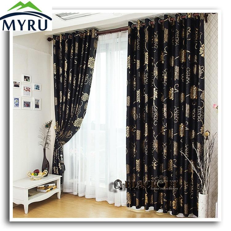 myru œillets metalliques anticorrosion beaux rideaux noirs et dores en noir et en argent pour le salon