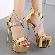 Women Platform Pumps Super High Heels Gladiator Sandals 16.5 CM High Heel Shoes Woman Party Wedding Shoes Big Size 34-40