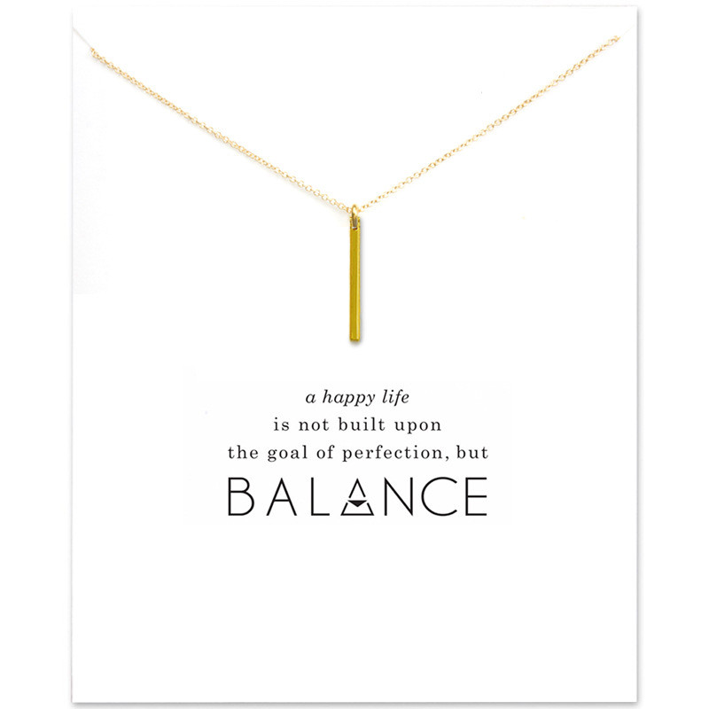 Minimalist Vertical Bar Balance Pendant Necklace Make a Wish Card For Women Engagement Gift