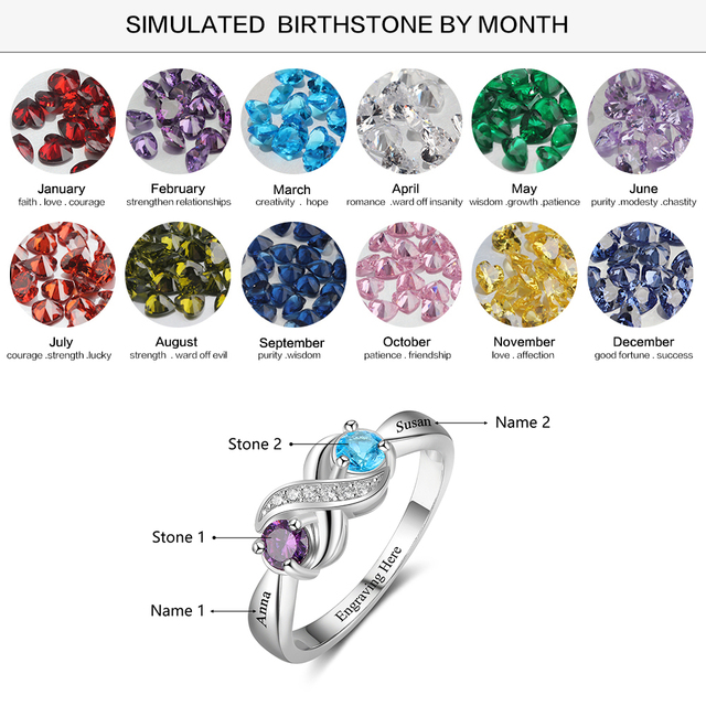Promise 925 Sterling Silver For Women DIY Rings Heart Birthstone Name Fine Jewelry Valentine's Day Gift (Lam Hub Fong)
