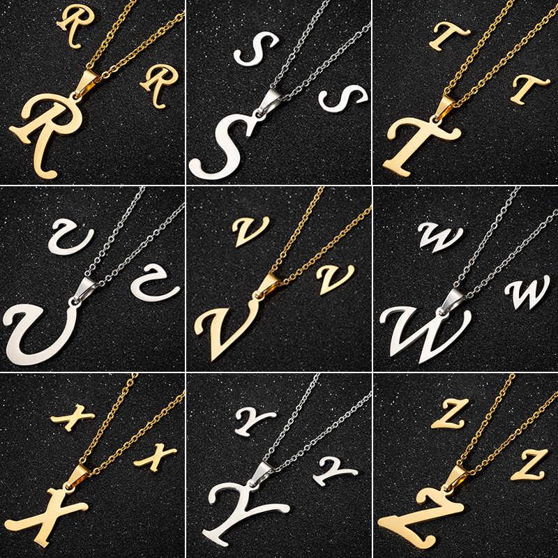 Jisensp 26 początkowy naszyjnik listowy kobiety biżuteria złoty łańcuszek stalowy wisiorek Boho oświadczenie naszyjnik mężczyźni Collier Femme