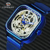 FORSINING Blue Fashion Skeleton Watches Automatic Steampunk Watch Mechanical Men Magnet Mesh Strap Brand Luxury Wristwatch Mens