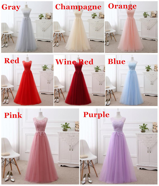 A-line Lace Tulle Evening Dresses Long Formal Elegant Many Colors 100% Real Photo Party Dress Evening Gown Vestido de Festa DR04